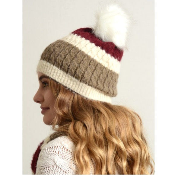 4d7f3851580 Ultra Soft Mohair Wide Stripe Beanie with pompom